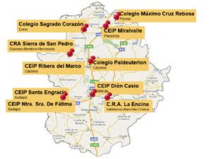 Distribución de las CdA en Extremadura
